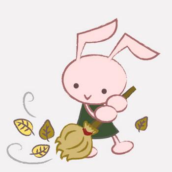 落ち葉かきをするウサギ|フリー歯科イラスト【歯科素材.com】