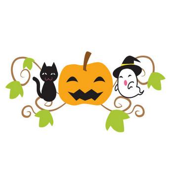 ハロウィン-かぼちゃと猫・お化けのイラスト 画像フリー素材|無料素材倶楽部