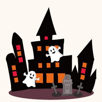 ハロウィン♪かわいい お化け屋敷&オバケ(ゴースト)のイラスト | 商用フリー(無料)のイラスト素材なら「イラストマンション」