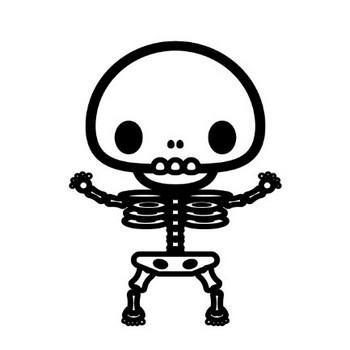 かわいい骸骨の無料イラスト・商用フリー   オイデ43