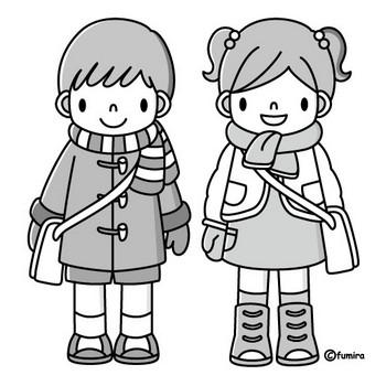 冬の登園(モノクロ) | 子供と動物のイラスト屋さん わたなべふみ