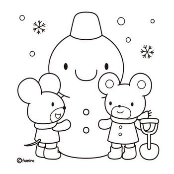雪だるまのイラスト(ぬりえ)   子供と動物のイラスト屋さん わたなべふみ