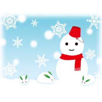 雪だるまと雪うさぎ - イラスト - 彩BOX.com
