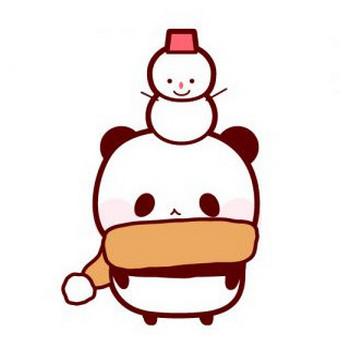 パンダと雪だるまのフリーイラスト