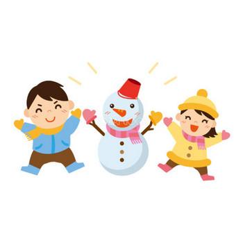 冬 かわいいイラスト 無料 フリー「雪だるまと子ども達」34869   素材Good