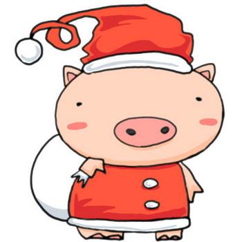 クリスマス!動物をサンタにしてみよう!ブタのサンタクロース|かわいい無料イラスト素材(商用利用可)