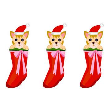 靴下に入ったネコのサンタ | イラスト素材パラダイス 商用利用無料のイラスト素材