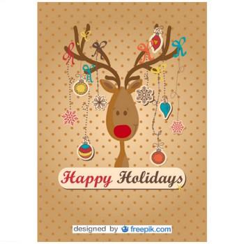 ハッピートナカイはクリスマスツリーをやっ ベクター画像 | 無料ダウンロード