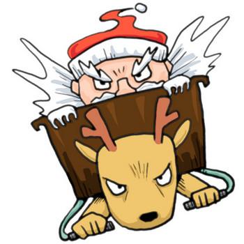 クリスマス!ハイスピードでプレゼントを配るサンタクロースとそりを引くトナカイ|かわいい無料イラスト素材(商用利用可)