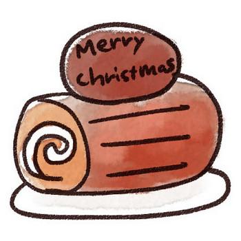 クリスマスケーキのイラスト「ブッシュドノエル」: ゆるかわいい無料イラスト素材集