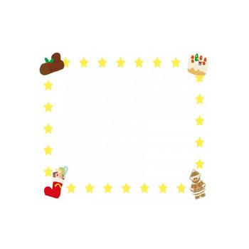 クリスマスケーキ・お菓子ブーツのフレーム飾り枠イラスト | 無料イラスト かわいいフリー素材集 フレームぽけっと