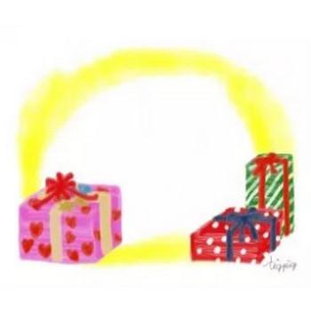 フリー素材:フレーム;ガーリーなクリスマスプレゼント無料イラスト;640×480pix   webデザイン素材 tigpig