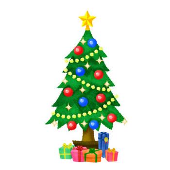 クリスマスツリーとプレゼント   フリーイラスト素材 イラストリウム