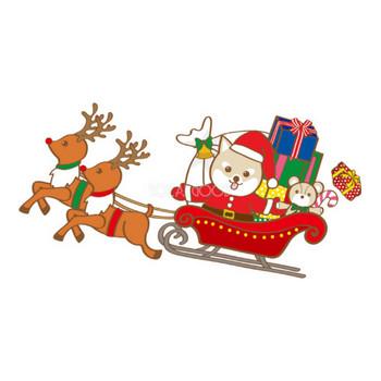 かわいいクリスマス(プレゼントを運ぶ柴犬サンタクロース)無料イラスト80538   素材Good