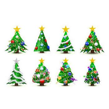 数種類のクリスマス ツリー Abstract Christmas Tree Vector Set | ai eps イラストレーター