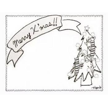フリー素材:フレーム;北欧風のシンプルなレースの囲み枠とクリスマスツリーとMerryX'masの手書き文字のリボン;640×480pix | webデザイン素材 tigpig