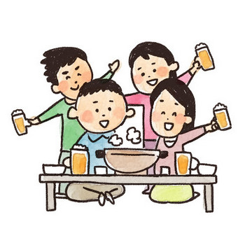 忘年会のイラスト「鍋とビールで乾杯!」: ゆるかわいい無料イラスト素材集