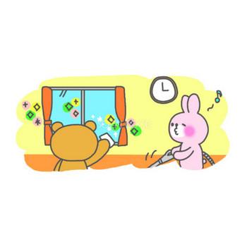 仲良く大掃除 うさぎ&くま 無料イラスト【アニメーション】 | 素材Good