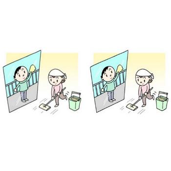 無料 季節(冬)のイラスト - 年末大掃除・拭き掃除・床掃除・窓拭き・年の瀬・師走