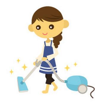 掃除機をかける女性 - イラスト素材 | 商用利用可のベクターイラスト素材集「ピクト缶」