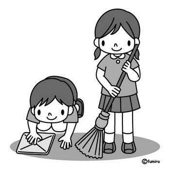 お掃除イラスト(モノクロ) | 子供と動物のイラスト屋さん わたなべふみ