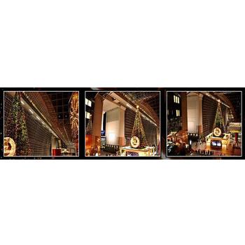 京都駅 クリスマスイルミネーション、クリスマスツリーの夜景 -無料写真壁紙-
