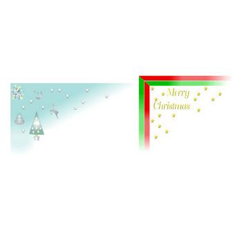 素材屋じゅん・フリー素材・クリスマス背景素材・クリスマスツリー・星・ポインセチア・教会・トナカイ・ベル・雪の街・町