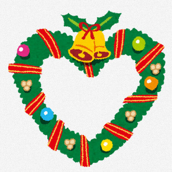 ハート型のクリスマスリースのイラスト | かわいいフリー素材集 いらすとや