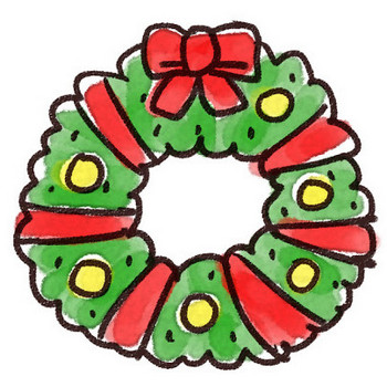 赤いリボンのクリスマスリースのイラスト: ゆるかわいい無料イラスト素材集