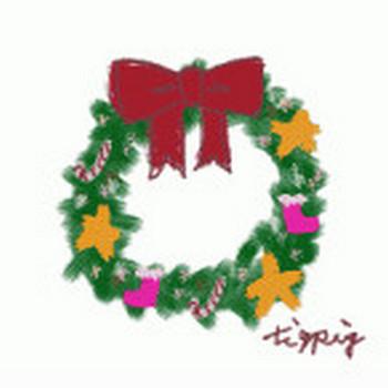 新作!クリスマスリースの無料イラスト素材(フリー素材 200×200pix) | webデザイン素材 tigpig
