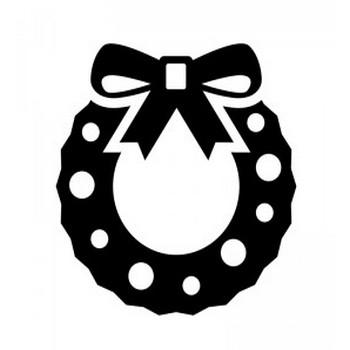 リボンのクリスマスリースのシルエット | 無料のAi・PNG白黒シルエットイラスト