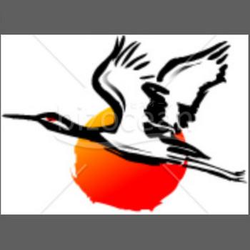 空を飛ぶ鶴と初日の出のイラスト|テンプレートのダウンロードは【書式の王様】