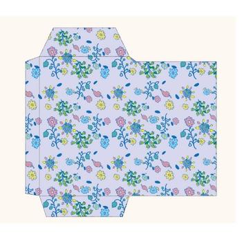 ポチ袋(お年玉袋)のテンプレート 花柄・青・緑 イラスト | 商用フリー(無料)のイラスト素材なら「イラストマンション」