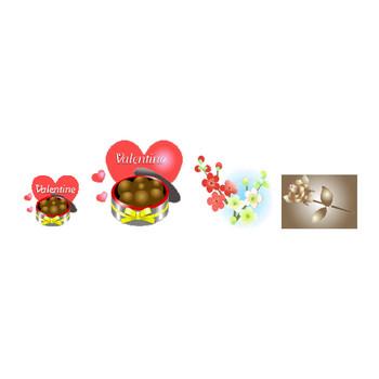 節分バレンタインイラスト背景素材素材屋じゅんの2月フリー画像絵・豆まき・おに鬼・梅・うぐいす