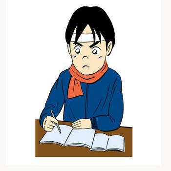 試験勉強に励む受験生イラスト | 無料イラスト配布サイトマンガトップ