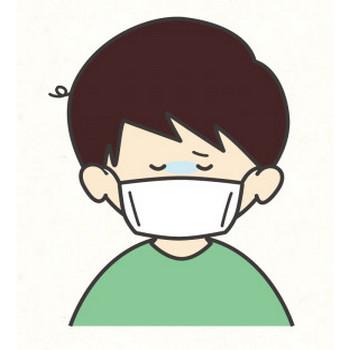 風邪をひいた男の子 | フリーイラスト素材ならぴくらいく|イベント・動物・季節・食べ物