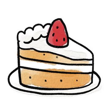 苺のショートケーキのイラスト(お菓子): ゆるかわいい無料イラスト素材集