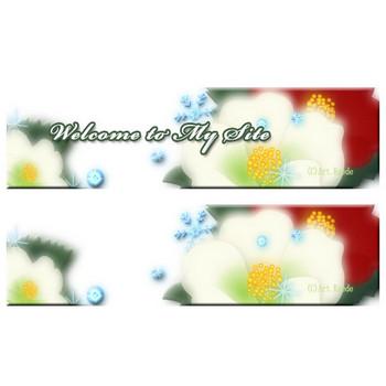 椿の花1 雪の結晶と椿の花のイラスト素材|Art.Kaede