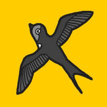 つばめ・ツバメ(モノクロ)/鳥の無料イラスト/ミニカット・クリップアート素材