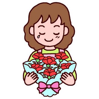 カーネーションありがとう(カラー)/母の日の無料イラスト/春の行事・季節素材