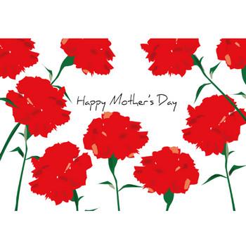 「母の日カード・たくさんのカーネーション」ダウンロード かわいい無料イラスト 印刷素材.net