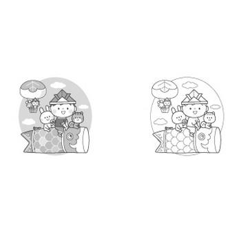 こどもの日のイラスト素材(鯉のぼり・菖蒲湯・兜・柏餅) | 子供と動物のイラスト屋さん わたなべふみ