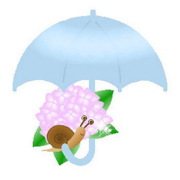 梅雨の素材-あじさい・紫陽花・アジサイ・傘・虹のイラスト・アイコン~HPフリー素材