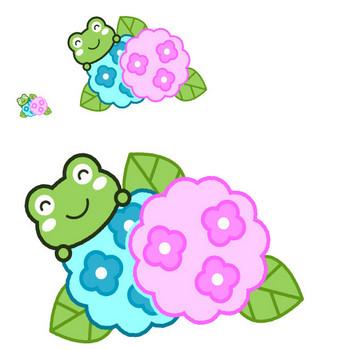 紫陽花とカエルのイラスト|かわいいフリー素材、無料イラスト|素材のプチッチ