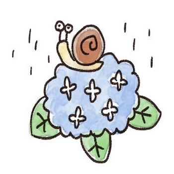 紫陽花のイラスト「かたつむりとあじさい」: ゆるかわいい無料イラスト素材集