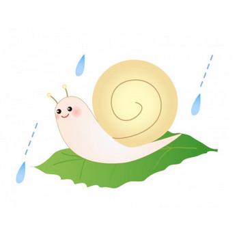 カタツムリと梅雨のイラスト素材 | イラスト無料・かわいいテンプレート