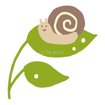 葉っぱの上にカタツムリ(でんでん虫)のかわいい梅雨の無料フリーイラスト83866 | 素材Good
