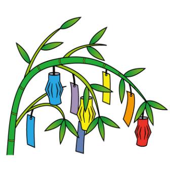 7月7日七夕-笹と七夕飾りのイラスト|無料ビジネスイラスト素材のビジソザ