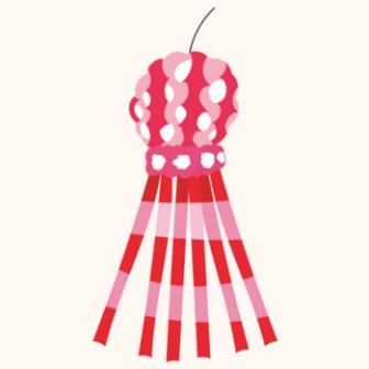 赤色のかわいい七夕飾りのイラスト | 商用フリー(無料)のイラスト素材なら「イラストマンション」