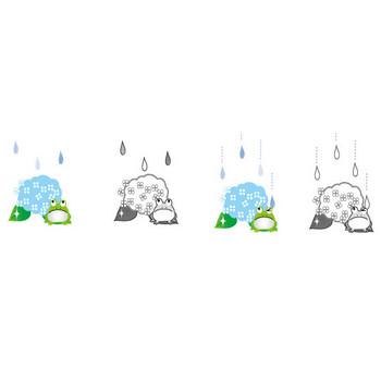 梅雨(あじさい)のイラスト・無料イラスト